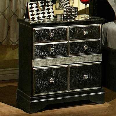 Sandberg Furniture Hollywood Glamour 2 Drawer Nightstand