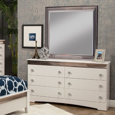 Celeste 6 Drawer Double Dresser with Mirror