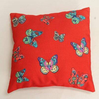 Decorative Butterflies Throw Pillow Color: Red