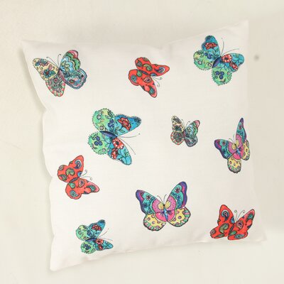 Decorative Butterflies Throw Pillow Color: White