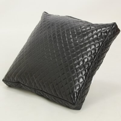 Faux Leather Throw Pillow Color: Black