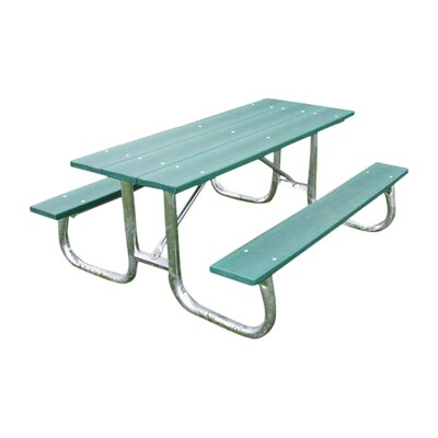 Recycled Plastic Galvanized Picnic Table Mounting Type: None, Finish: Green, Table Size: 8