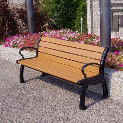 Frog Furnishings Heritage Resin Wood and Aluminum Park Bench - Finish: Gray/Black, Size: 4'
