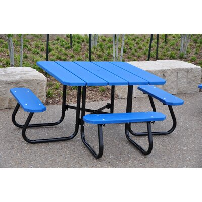 Recycled Plastic Square Picnic Table Finish: Green, Mounting Type: None
