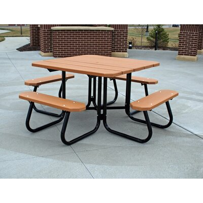 Recycled Plastic Square Picnic Table Finish: Blue, Mounting Type: L-Bracket