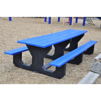 Toddler Recycled Plastic Picnic Table Mounting Type: None, Finish: Blue