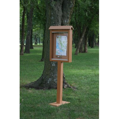 Recycled Plastic Hinged Message Center One Side One Post Color: Cedar