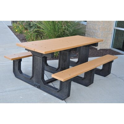 Park Place Recycled Plastic Picnic Table Finish: Gray, Mounting Type: None