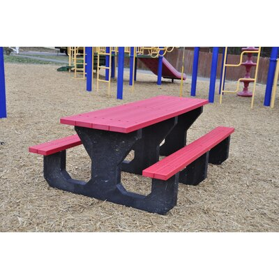 Recycled Plastic Youth Picnic Table Mounting Type: L-Bracket, Finish: Red