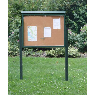 Recycled Plastic Message Center One Side Two Posts Color: Cedar