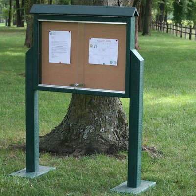 Recycled Plastic Medium Message Center One Side Two Posts Finish: Cedar