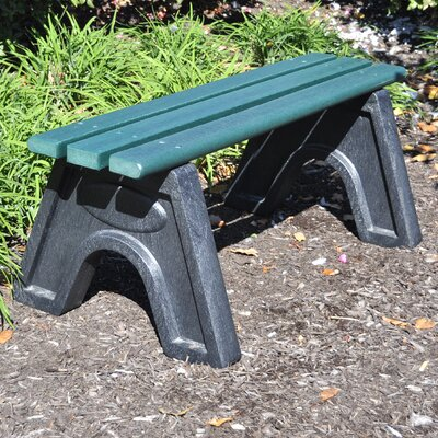 Frog Furnishings Sport Recycled Plastic Park Bench - Size: 4', Mounting Type: Elite, Finish: Green