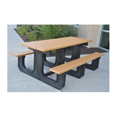 Park Place Recycled Plastic Picnic Table Mounting Type: None, Finish: Green
