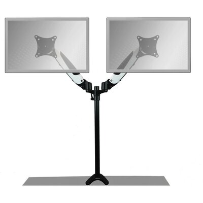 Sit-Stand Air-Assist Monitor Arm Height Adjustable Universal 2 Screen Desk Mount Finish: White