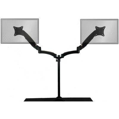 Sit-Stand Extended Air-Assist Monitor Arm Height Adjustable Universal 2 Screen Desk Mount Finish: Black