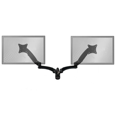 Sit-Stand Extended Height Adjustable Universal 2 Screen Wall Mount Finish: Black