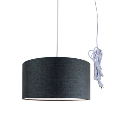 Kimbell Swag Plug-In 2-Light Drum Pendant Shade Color: Granite Gray, Size: 7 H x 14 W x 14 D