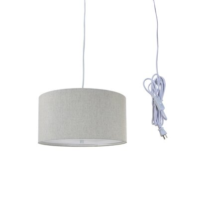 Kimbell Swag Plug-In 2-Light Drum Pendant Shade Color: Oatmeal, Size: 8 H x 16 W x 16 D
