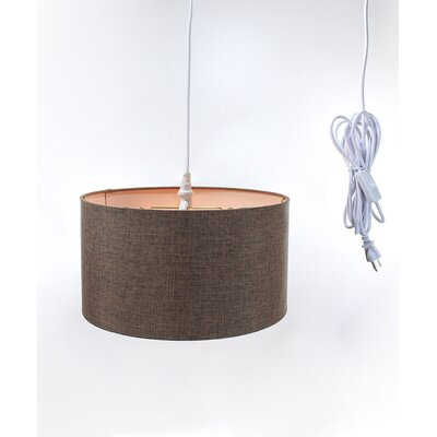 Kimbell Swag Plug-In 2-Light Drum Pendant Shade Color: Dark Chocolate, Size: 8 H x 16 W x 16 D