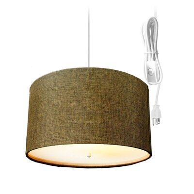 Kimbell Swag Plug-In 2-Light Drum Pendant Shade Color: Light Chocolate, Size: 8 H x 16 W x 16 D