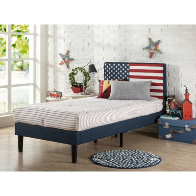 USA Flag Upholstered Twin Platform Bed