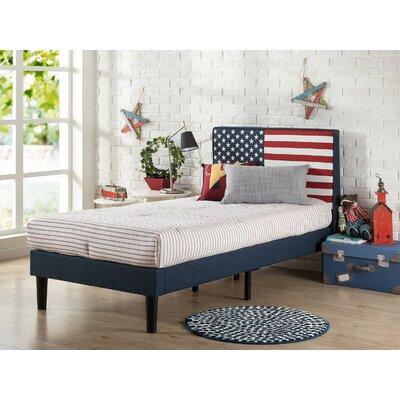 USA Flag Upholstered Twin Platform Bed