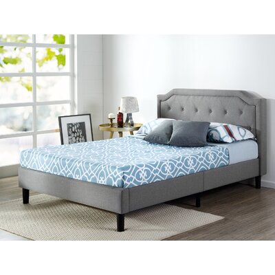 Scalloped Button Tufted Upholstered Platform Bed Size: King