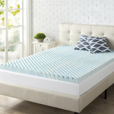 Convoluted Swirl 3 Gel Memory Foam Mattress Topper Size: Queen