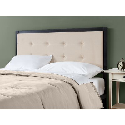 Pierro Tufted Metal Upholstered Panel Headboard Size: Twin, Upholstery: Taupe
