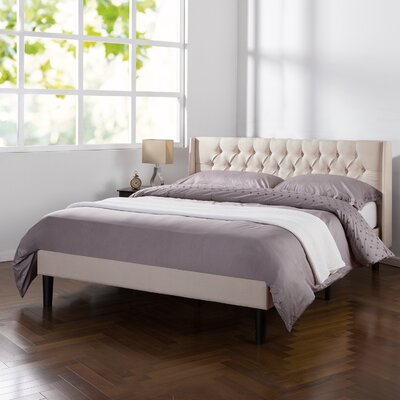 Alasan Traditional Tufted Wingback Upholstered Platform Bed Size: Full
