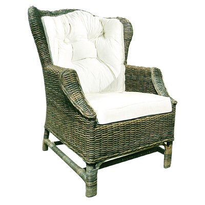 Rattan Wicker Wingback Chair Set with Cushions