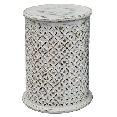 Lorraine Global Archive Drum End Table Finish: Antique White