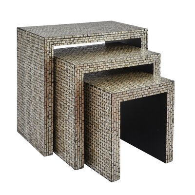 Cuba Basket Weave 3 Piece Nesting Table Finish: Gray