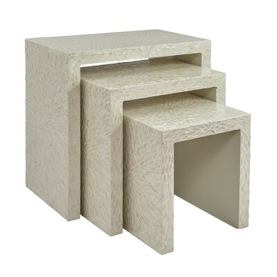 Yeates Basket Weave 3 Piece Nesting Table Color: White