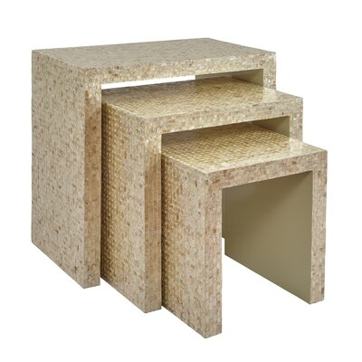 Cuba Basket Weave 3 Piece Nesting Table Finish: Cream
