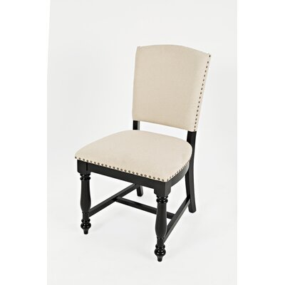 Bluebonnet Upholstered Dining Chair (Set of 2) Finish: Antique Black