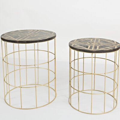 2 Piece Bulloch Mango and Brass End Table Set
