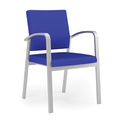 Newport Guest Chair Fabric: Renaissance Steel Blue - Healthcare Vinyl, Frame Color: Silver