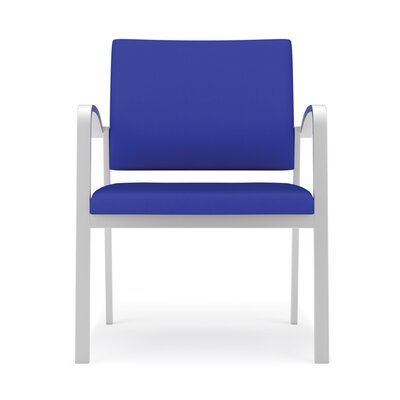 Newport Oversize Guest Chair Fabric: Renaissance Steel Blue - Healthcare Vinyl, Frame Color: Silver