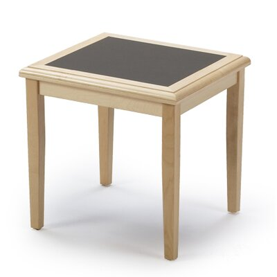 Savoy Series End Table Finish: Natural, Table Top Inlay: Gray Matrix