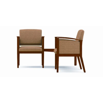 Lesro Amherst Two Chairs with Corner Table - Frame Finish: Mahogany Fabric: Core - Dune