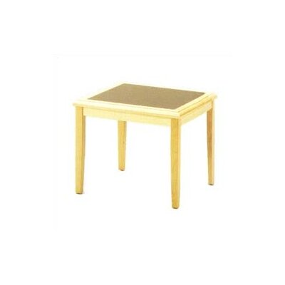 Savoy Series Corner Table Finish: Natural, Table Top Inlay: Gray Matrix