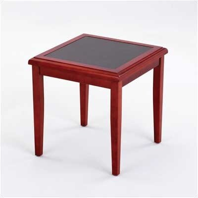 Brewster Series End Table Finish: Walnut, Table Top Inlay: Gray Matrix