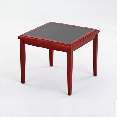 Brewster Series Corner Table Finish: Mahogany, Table Top Inlay: Gray Matrix