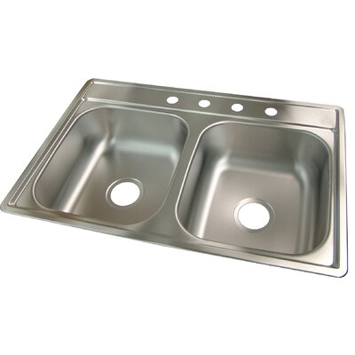33 x 22 4 Hole Kitchen Sink