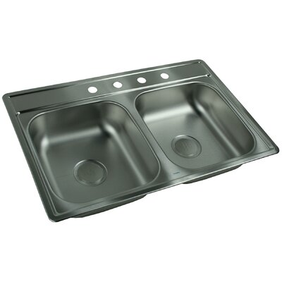 33 x 22 4 Hole Double Bowl Kitchen Sink