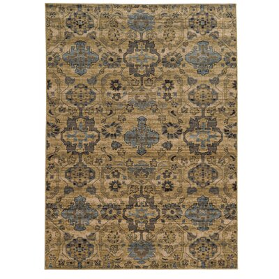 Vintage Hand-Woven Wool Beige/Blue Area Rug Rug Size: Rectangle 53 x 76