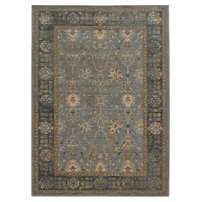 Vintage Hand-Woven Wool Blue/Beige Area Rug Rug Size: Rectangle 67 x 96