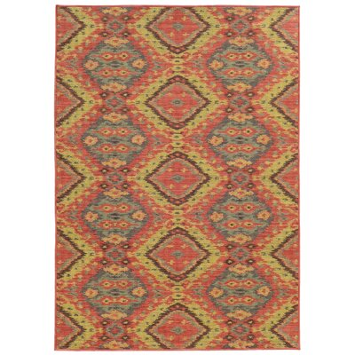 Tommy Bahama Cabana Pink / Blue Geometric Indoor/Outdoor Area Rug Rug Size: Rectangle 110 x 33