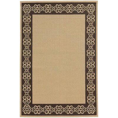 Seaside Beige/Brown Indoor/Outdoor Area Rug Rug Size: Rectangle 37 x 56